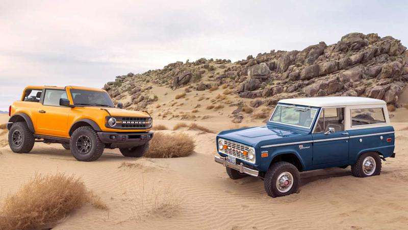 2021 Ford Bronco und 1966 Ford Bronco