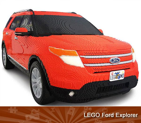LEGO FORD EXPLORER -- The work of 22 master builders at a Lego facility in Connecticut, this life-size Ford Explorer weighs more than half as much as the car on which it's based. You can see it in person at the just-opened Legoland theme park near Orlando in Florida.
