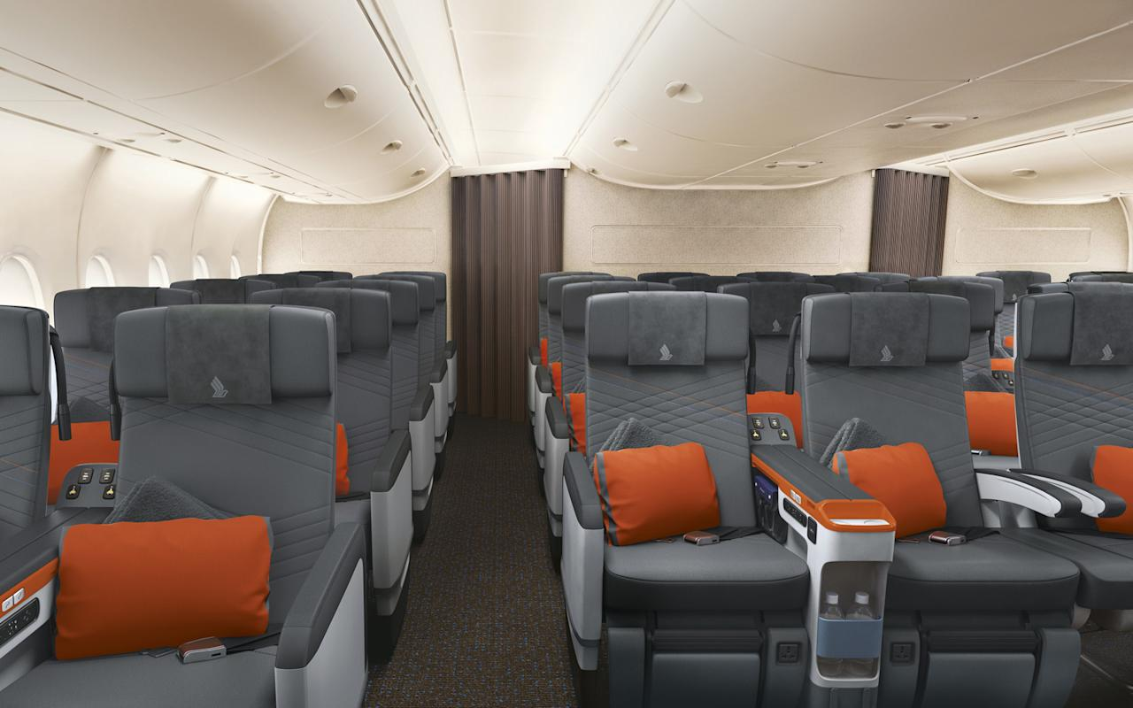 "<p>Singapore Airlines' well thought-out <a rel=""nofollow"" href=""http://www.travelandleisure.com/airlines-airports/more-airlines-increasing-premium-economy"">premium economy</a> cabin, which first <a rel=""nofollow"" href=""http://www.travelandleisure.com/articles/singapore-airlines-introduces-a-new-class-of-travel"">debuted in 2015</a>, will be a separate cabin class on the A380. It's a great option for passengers who have a bigger budget, and includes features that make resting, dining, and working comfortable in-flight.</p> <p>Each of the leather-covered seats, exclusively designed by JPA Design, London and produced by ZIM Flugsitz, Germany, is 19.5 inches wide, and offers an eight-inch recline. The seats feature 13.3-inch HD entertainment screens with sound enhanced by active noise-cancelling headphones.</p>"
