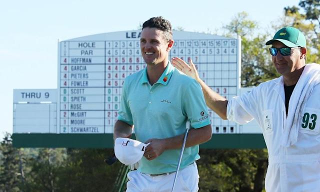 """<span class=""""element-image__caption"""">Justin Rose, with his caddie Mark Fulcher, worked his way up the Masters leaderboard on day three, finishing on top.</span> <span class=""""element-image__credit"""">Photograph: Andrew Redington/Getty Images</span>"""