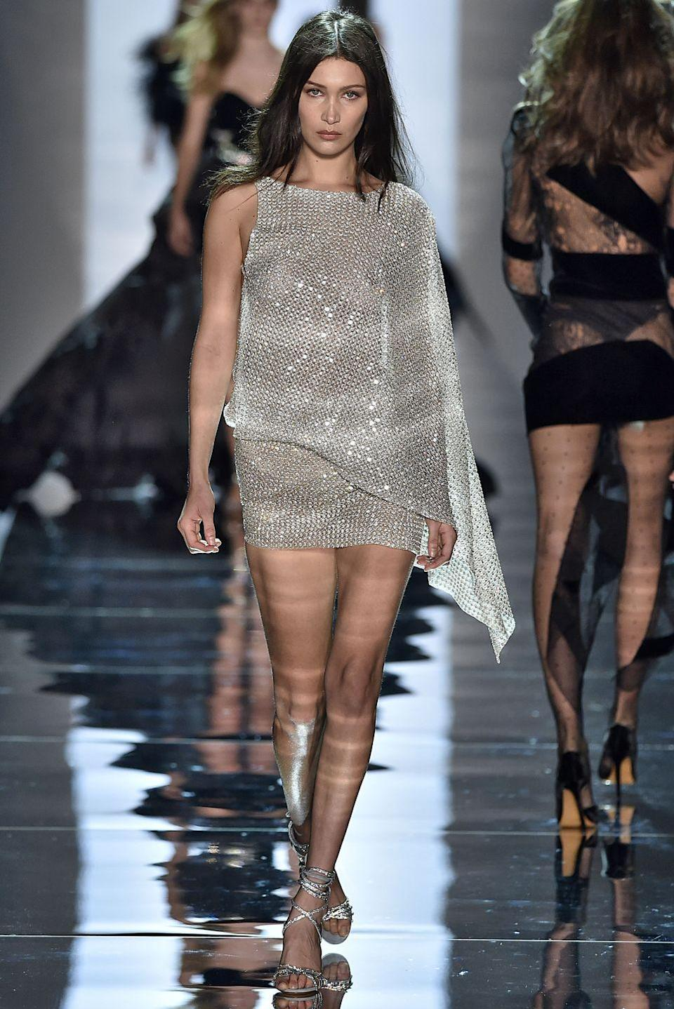 <p>Bella walked the Alexandre Vauthier runway show in January 2017</p>