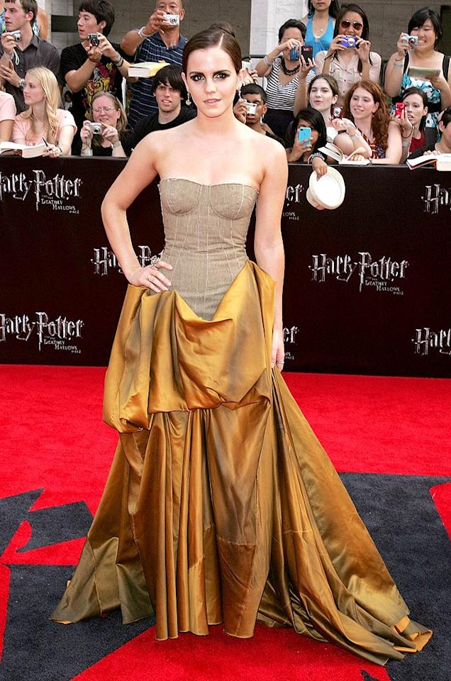 """<b>Emma Watson:</b> Emma proved she is all grown up in the golden, bustier Bottega Veneta dress she sported at the New York premiere of """"Harry Potter and the Deathly Hallows - Part 2"""" this summer. Her sleek hairstyle was so sophisticated, too! (07/11/20111)"""
