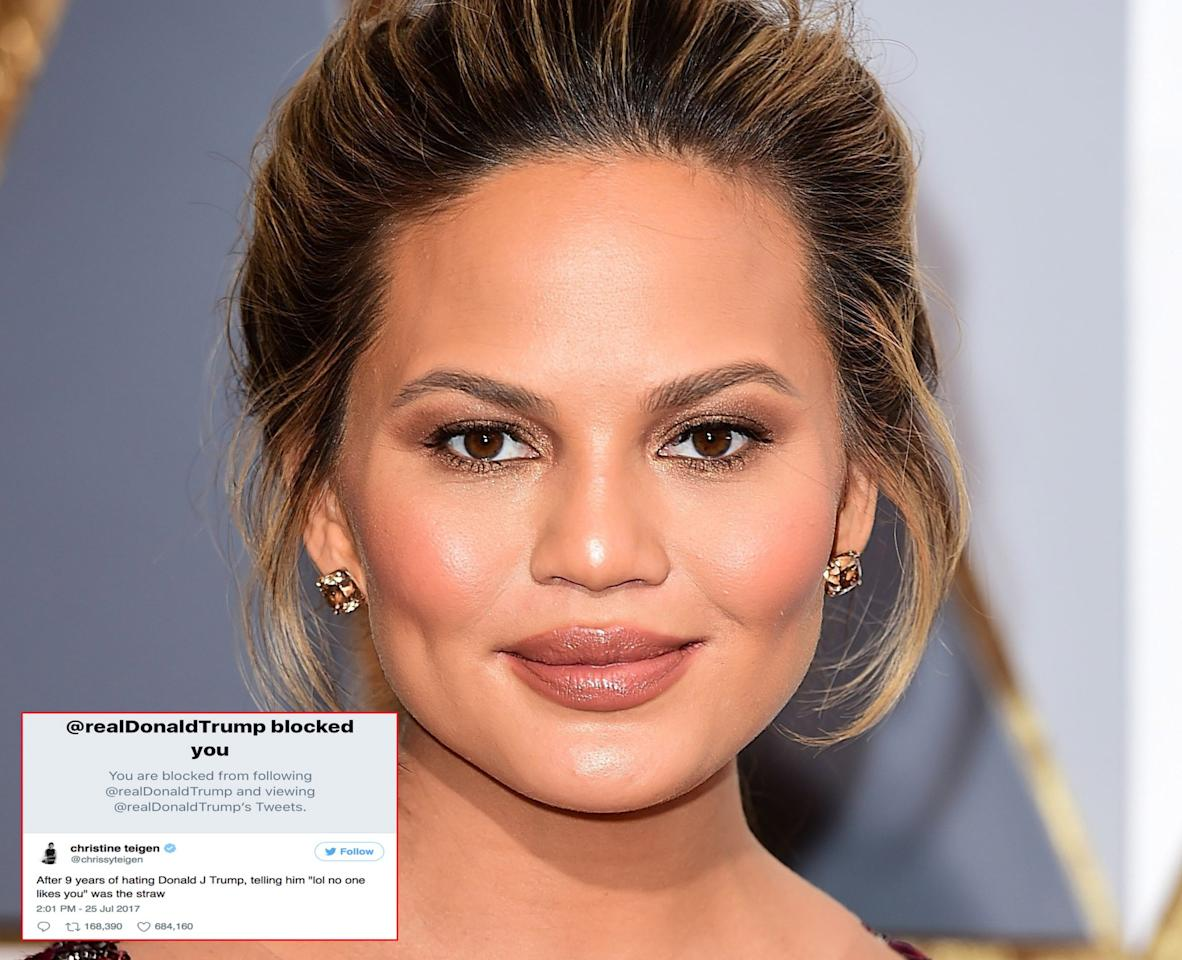 <p>On Tuesday model and presenter Chrissy Teigen announced the president had finally banned her from reading his posts, but it's more likely that he couldn't take her comebacks and the power of her retweets. (Photo: PA/Twitter) </p>