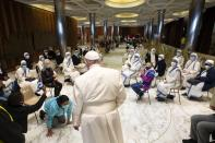 Pope Francis visits a vaccination centre at the Paul VI Hall