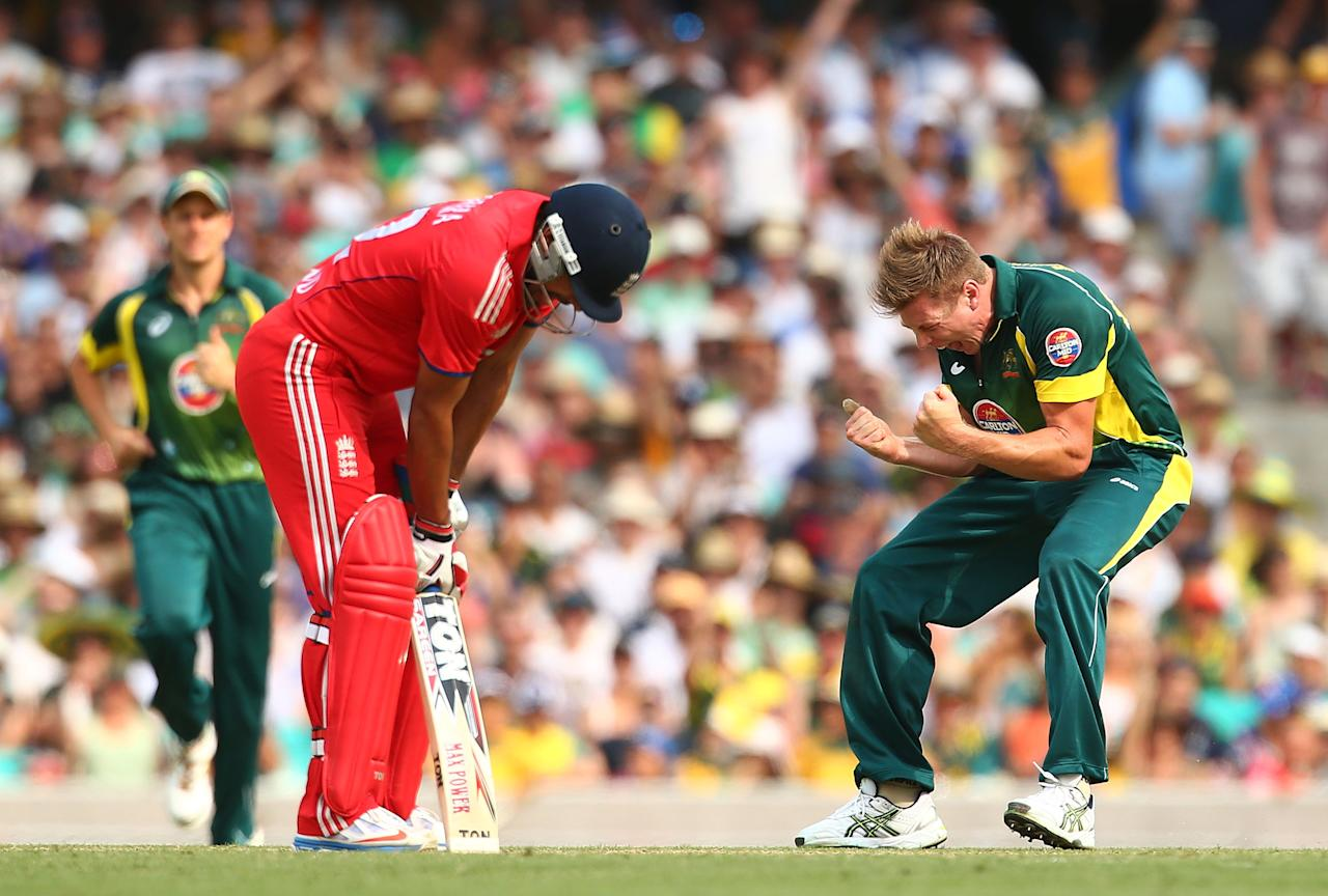 SYDNEY, AUSTRALIA - JANUARY 19:  James Faulkner of Australia celebrates the wicket of Ravi Bopara of England during game three of the One Day International Series between Australia and England at Sydney Cricket Ground on January 19, 2014 in Sydney, Australia.  (Photo by Mark Nolan/Getty Images)