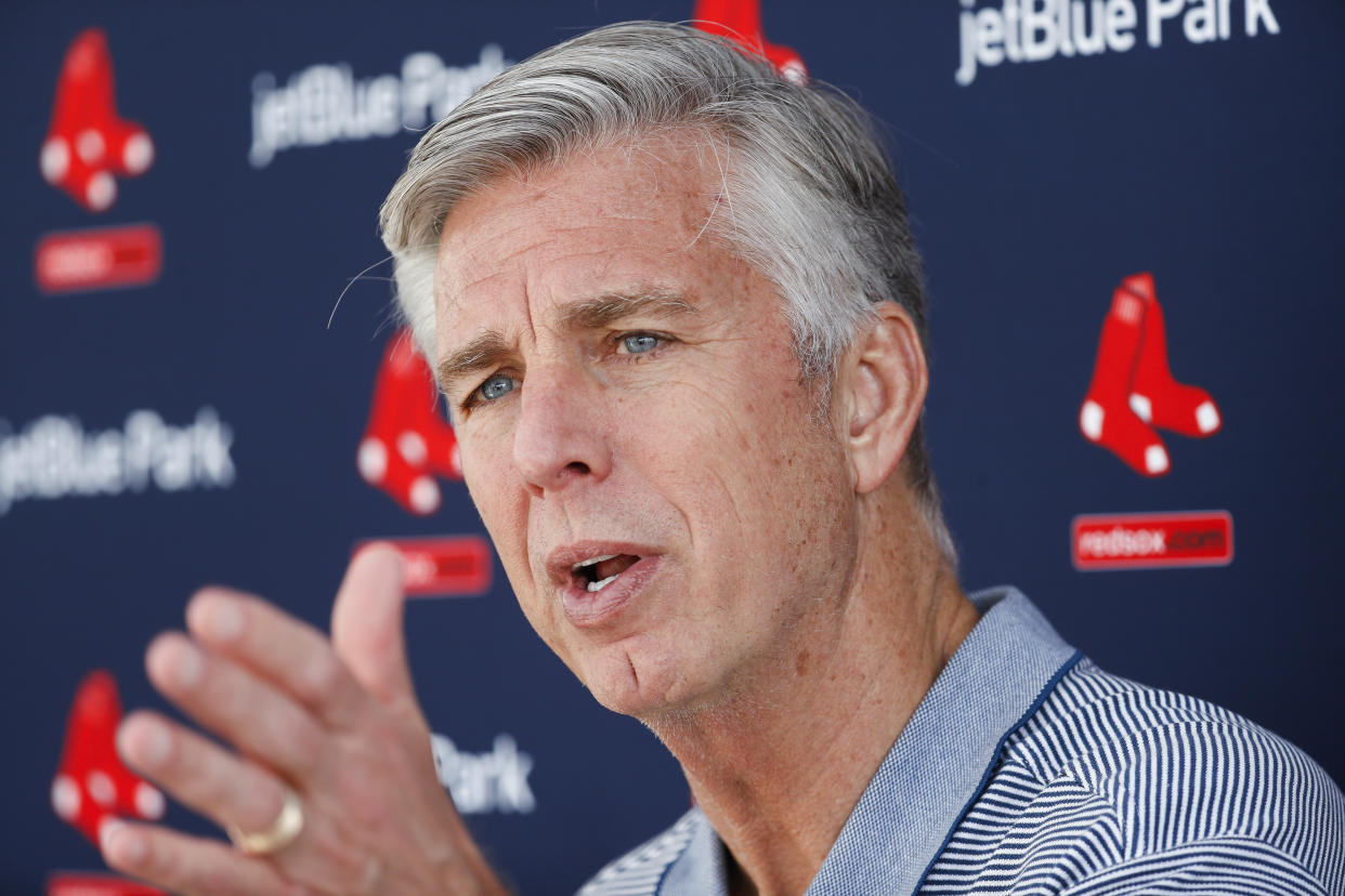 Boston Red Sox president of operations Dave Dombrowski speaks to the media during baseball spring training, Wednesday, Feb. 14, 2018, in Fort Myers, Fla. (AP Photo/John Minchillo)