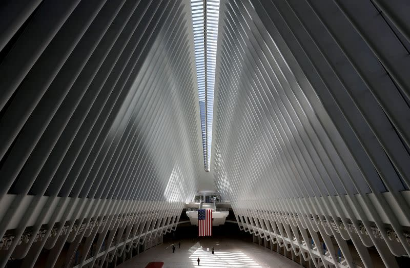 FILE PHOTO: Nearly empty Oculus transportation hub during outbreak of the coronavirus disease (COVID-19) in New York