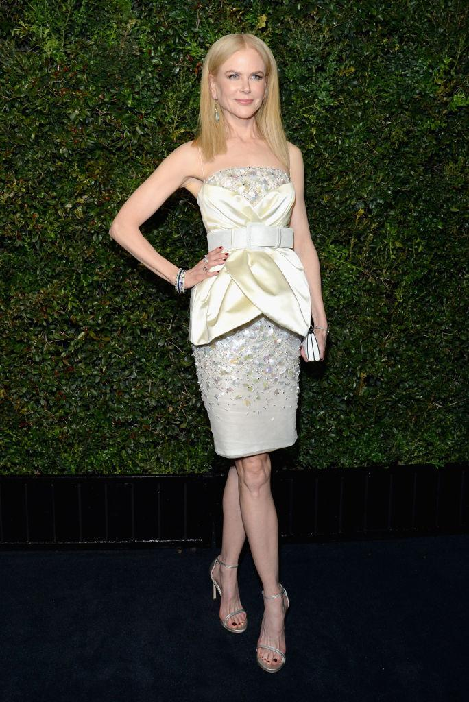 <p>Nicole Kidman at the Chanel dinner, in Chanel (Photo: Getty Images) </p>