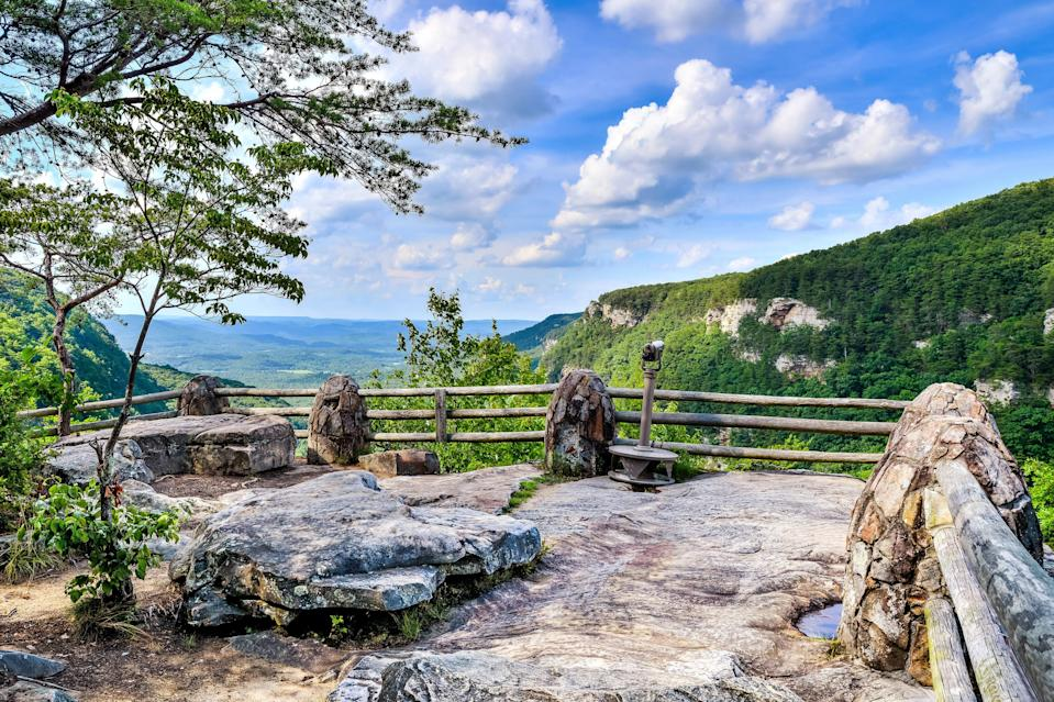 """<p><strong>Best camping in Georgia:</strong> West Rim Campground, Cloudland Canyon State Park </p> <p>It's hard to believe that cascading waterfalls, thousand-foot-deep canyons, and rugged sandstone cliffs can all be found in one place, least of all Georgia. But, impressively, Cloudland Canyon makes it happen. Overnight guests can choose between <a href=""""https://www.cntraveler.com/story/best-hiking-backpacks?mbid=synd_yahoo_rss"""" rel=""""nofollow noopener"""" target=""""_blank"""" data-ylk=""""slk:backpacking"""" class=""""link rapid-noclick-resp"""">backpacking</a>, car camping, or splurging on a cottage that's spitting distance from the best views.</p>"""