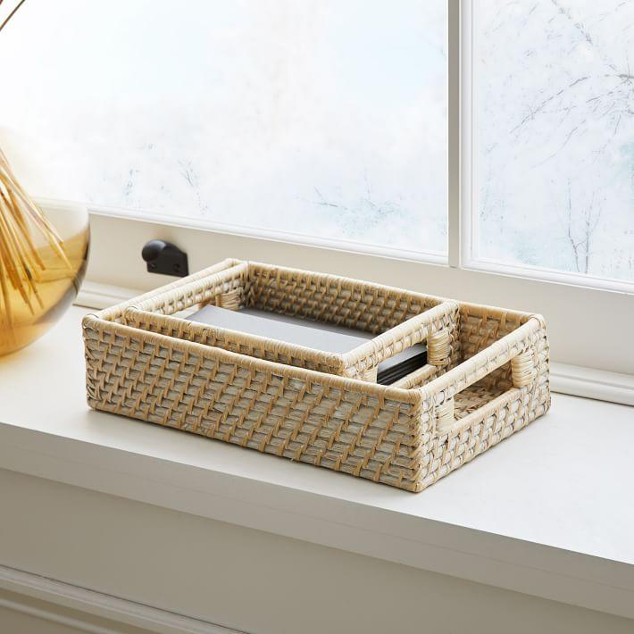 "These space-saving storage baskets are the perfect mix of modern and traditional. Use them to hide your bits and bobs or as a decorative piece on the bookshelf beside your bedroom office setup. <br><br><strong><em><a href=""https://www.westelm.com/shop/storage-organization/storage-baskets-bins/"" rel=""nofollow noopener"" target=""_blank"" data-ylk=""slk:Shop West Elm"" class=""link rapid-noclick-resp"">Shop West Elm</a></em></strong> <br><br><strong>West Elm</strong> Modern Weave Small Storage Basket, $, available at <a href=""https://go.skimresources.com/?id=30283X879131&url=https%3A%2F%2Fwww.westelm.com%2Fproducts%2Fmodern-weave-basket-whitewashed-d5290%2F%3F"" rel=""nofollow noopener"" target=""_blank"" data-ylk=""slk:West Elm"" class=""link rapid-noclick-resp"">West Elm</a>"