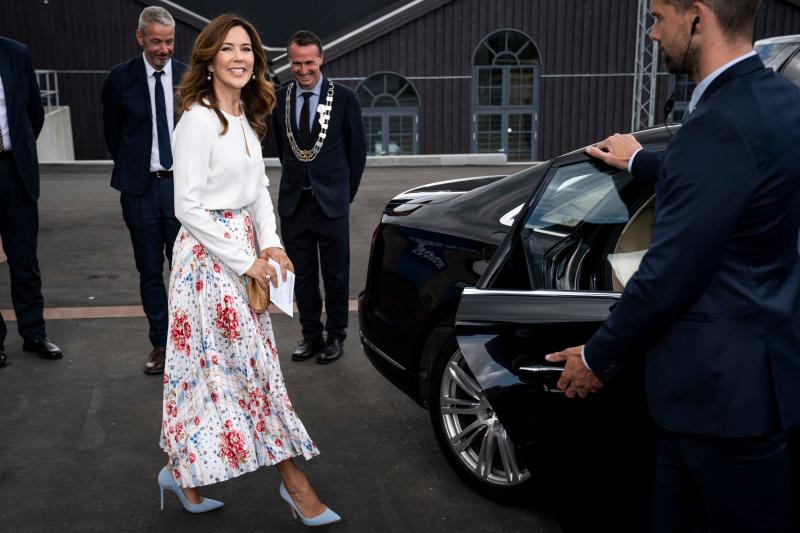 Crown Princess Mary of Denmark is seen attending the opening of the designer museum Holmegaard Vaerk in Naestved some 75km south of the Danish capital Copenhagen on June 8, 2020.