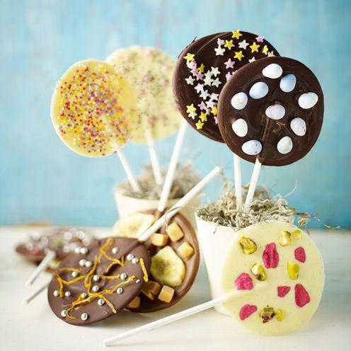 """<p>Pick your chocolate, flavouring and topping and let your imagination run wild.</p><p><strong>Recipe: <a href=""""https://www.goodhousekeeping.com/uk/food/recipes/mix-and-match-chocolate-lollipops"""" rel=""""nofollow noopener"""" target=""""_blank"""" data-ylk=""""slk:Mix and match chocolate lollipops"""" class=""""link rapid-noclick-resp"""">Mix and match chocolate lollipops</a></strong><br><br> </p>"""