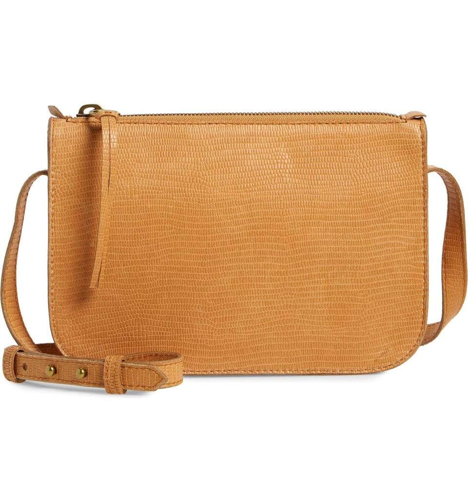 <p>This <span>Madewell The Simple Lizard Embossed Leather Crossbody Bag</span> ($65, originally $108) is a staple. It's a great neutral, and goes with everything.</p>