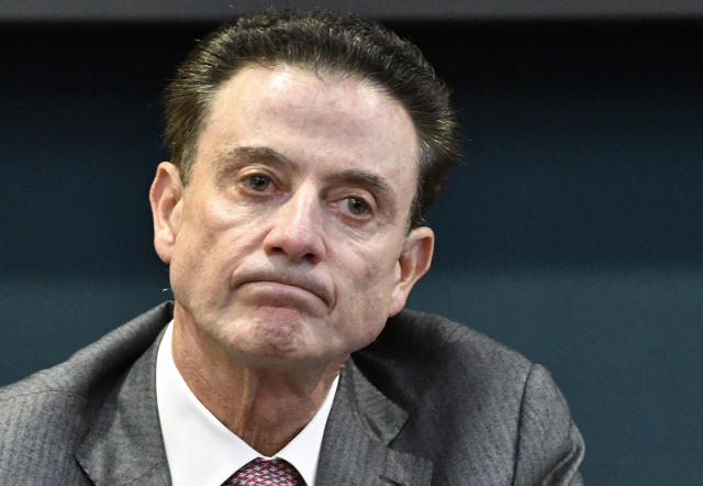Louisville coach Rick Pitino reacts to a question during an NCAA college basketball press conference. (AP)