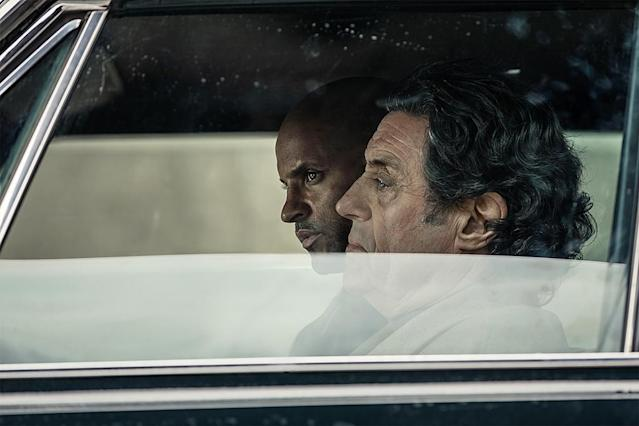 <p>Ian McShane as Mr. Wednesday and Ricky Whittle as Shadow Moon in Starz's <i>American Gods</i>.<br><br>(Photo: Starz) </p>