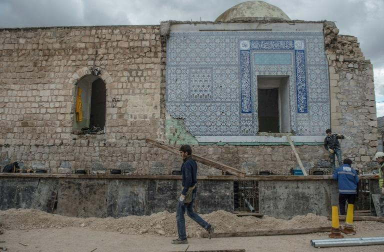 """Ahead of the flooding of Hasankeyf, the remnants of a 14th-century Ayyubid mosque were transported three kilometres (1.8 miles) to a site that will become a """"cultural park"""""""