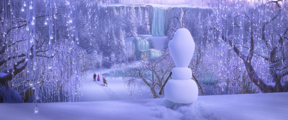"""Olaf the snowman in the Disney+'s """"Once Upon a Snowman,"""" a short film that tells the fan favorite's origin story."""