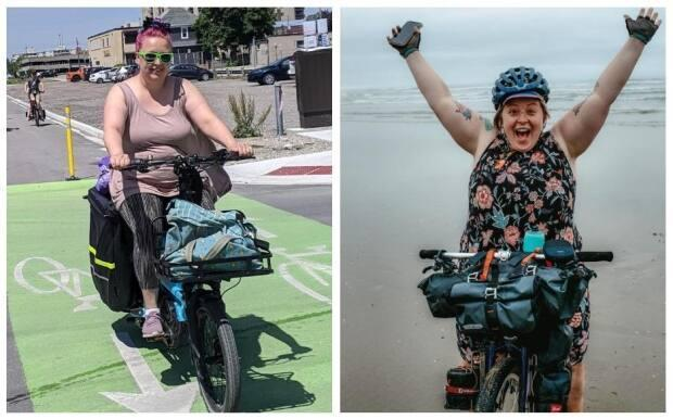 Nadia Petrasiunas of London, Ont., and Marley Blonsky of Seattle say they don't seen enough representation of bigger people riding bikes in the media. (Submitted by Nadia Petrasiunas and Marley Blonsky - image credit)