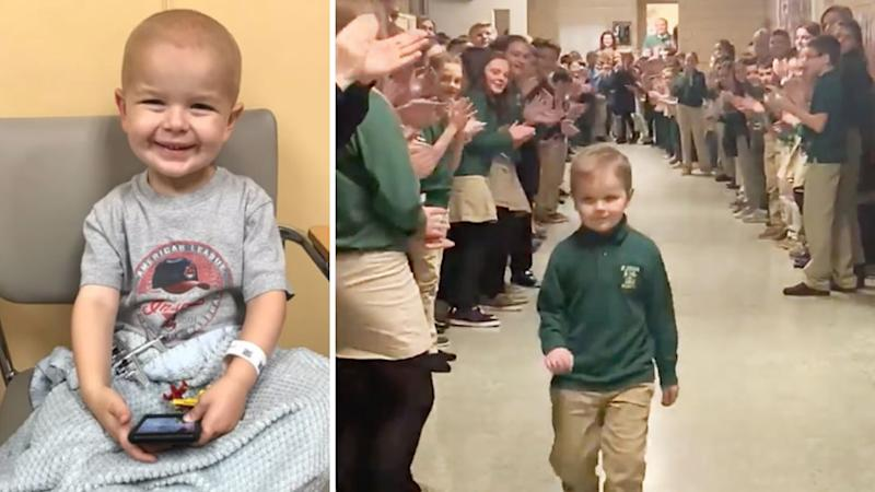 John Oliver, 6, received a hero's welcome from classmates after completing chemo