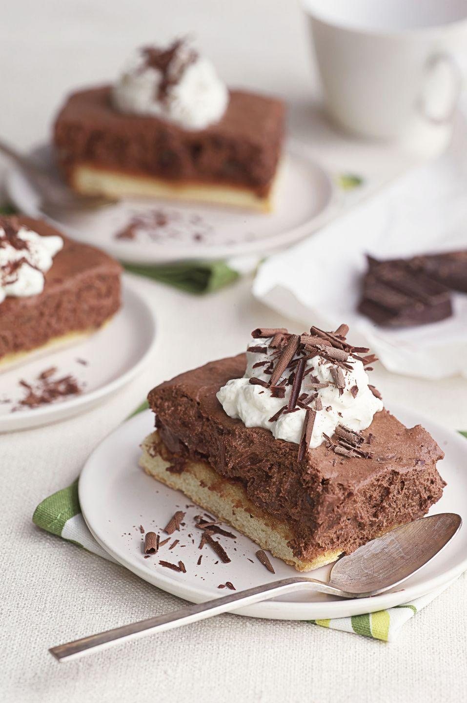 """<p>Melted chocolate folded into whipped cream creates a mousse-like mixture that gets piled on top of ladyfingers in this no-bake dessert. It's a celebration all on its own.</p><p><em><a href=""""https://www.goodhousekeeping.com/food-recipes/dessert/a37174/chocolate-icebox-cake-recipe/"""" rel=""""nofollow noopener"""" target=""""_blank"""" data-ylk=""""slk:Get the recipe for Chocolate Icebox Cake »"""" class=""""link rapid-noclick-resp"""">Get the recipe for Chocolate Icebox Cake »</a></em></p>"""