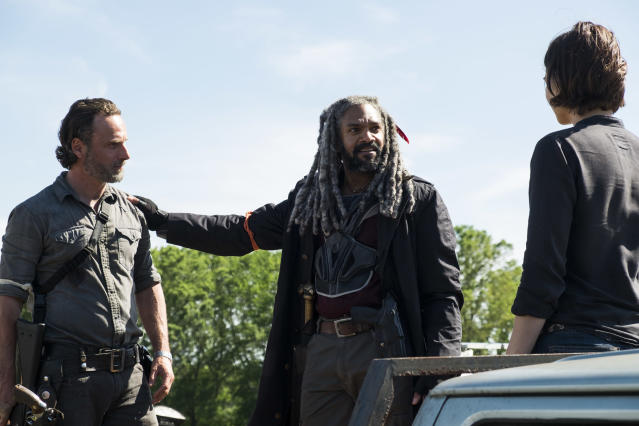 <p>Andrew Lincoln as Rick Grimes, Khary Payton as Ezekiel, and Lauren Cohan as Maggie Greene in AMC's <i>The Walking Dead</i>.<br>(Photo: Gene Page/AMC) </p>
