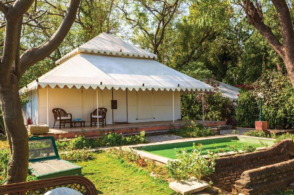 The Arjun Tent at the Ahilya Fort Heritage Hotel makes for a relaxing stay experience.