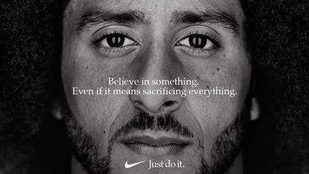 "Former San Francisco quarterback Colin Kaepernick appears as a face of Nike Inc advertisement marking the 30th anniversary of its ""Just Do It"" slogan in this image released by Nike in Beaverton, Oregon, U.S., September 4, 2018.   Courtesy Nike/Handout via REUTERS"