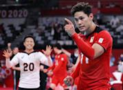 <p>TOKYO, JAPAN - AUGUST 01: Yuji Nishida #11 of Team Japan reacts with team mates as they compete against Team Iran during the Men's Preliminary Round - Pool A volleyball on day nine of the Tokyo 2020 Olympic Games at Ariake Arena on August 01, 2021 in Tokyo, Japan. (Photo by Toru Hanai/Getty Images)</p>