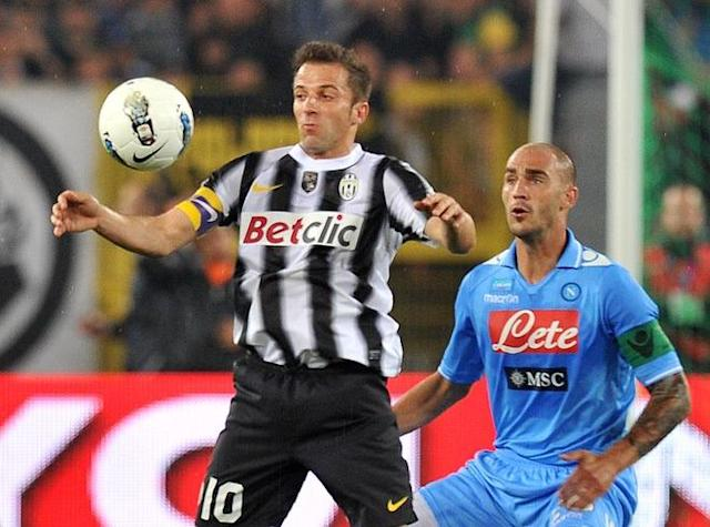 Juventus' forward Alessandro Del Piero fights for the ball with Napoli's defender Paolo Cannavaro (R) during the final of the Cup of Italy Juventus vs Napoli at the Olympic Stadium in Rome on May 20, 2012. AFP PHOTO / GABRIEL BOUYSGABRIEL BOUYS/AFP/GettyImages