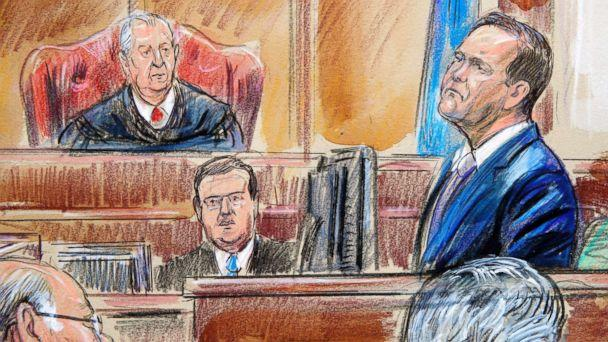 PHOTO: This courtroom sketch depicts Rick Gates on the witness stand as he is cross examined by defense lawyer Kevin Downing during the trial of Paul Manafort in Alexandria, Va., Aug. 7, 2018. U.S. District court Judge T.S. Ellis III presides. (Dana Verkouteren via AP)