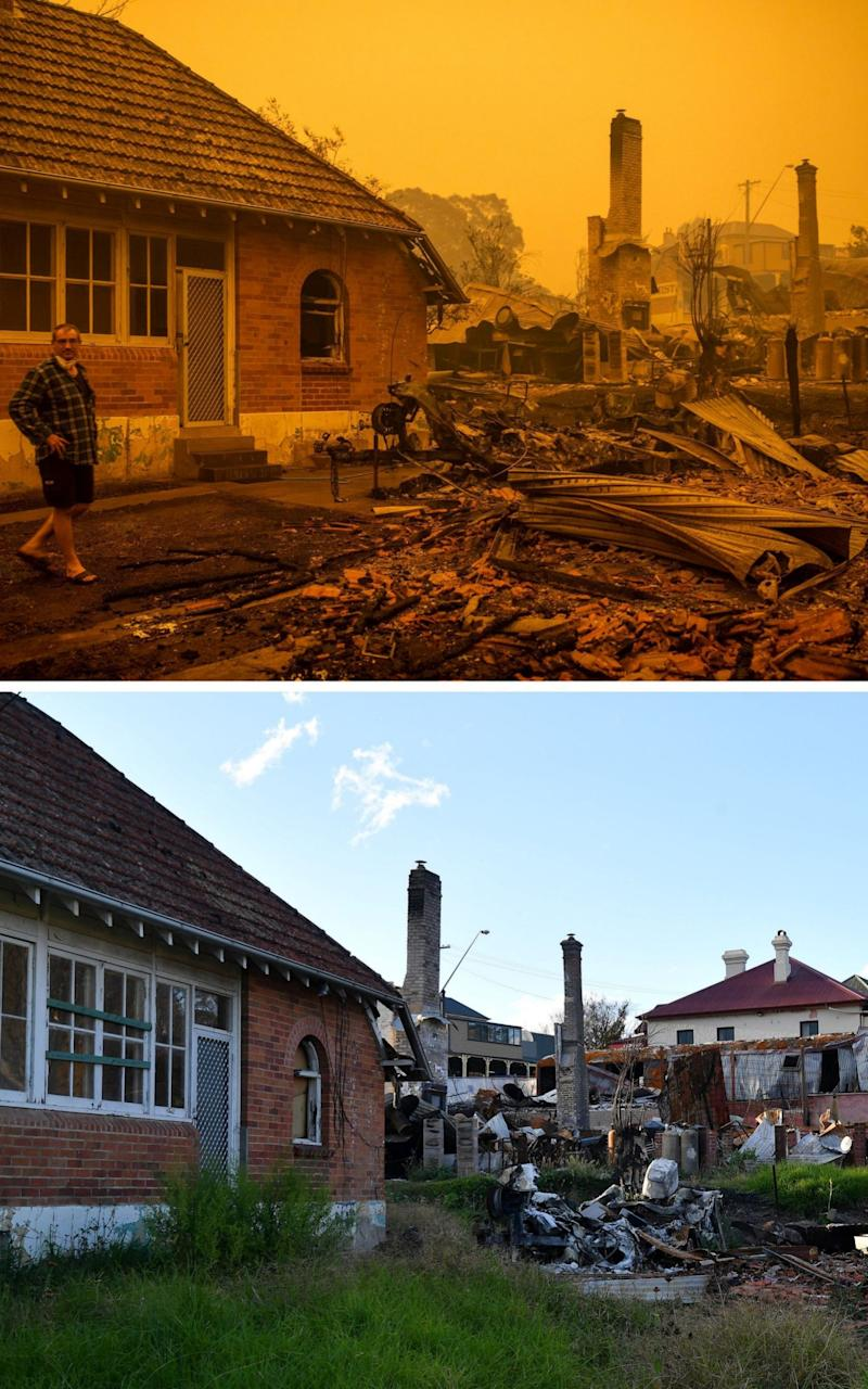 A photo combination shows the devastation caused by the wildfires in New South Wales - Saeed Khan/AFP