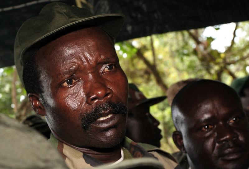 The leader of the Lord's Resistance Army, Joseph Kony, answers journalists' questions on November 12, 2006, in Ri-Kwamba, in what was then Sudan and is now South Sudan (AFP Photo/Stuart Price)