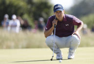 United States' Jordan Spieth lines up his putt on the 2nd green during the third round of the British Open Golf Championship at Royal St George's golf course Sandwich, England, Saturday, July 17, 2021. (AP Photo/Peter Morrison)