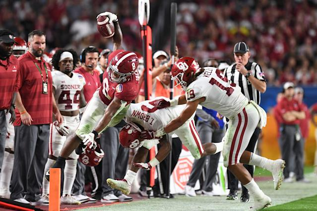Josh Jacobs helped bolster his draft stock with a strong showing in the Orange Bowl against Oklahoma in the College Football Playoff semifinal. (AP)
