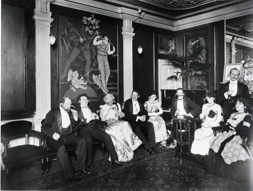 """<span class=""""caption"""">Electrophone listening salon in the London headquarters, Pelicon House on Gerrard Street (approximately 1903).</span> <span class=""""attribution""""><span class=""""source"""">George R. Sims (1847-1922)</span></span>"""