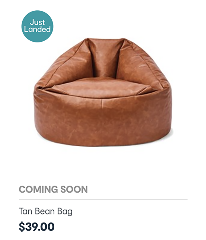 kmart tan bean bag