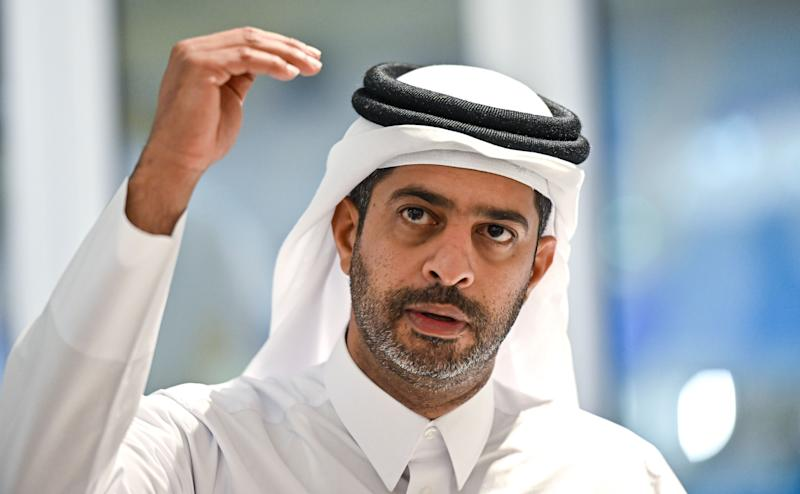 Nasser al-Khater, chief executive of the FIFA World Cup Qatar 2022 organisation, gives a press conference at Al-Janoub Stadium in the capital Doha on September 25, 2019. (Photo by GIUSEPPE CACACE / AFP) (Photo credit should read GIUSEPPE CACACE/AFP/Getty Images)