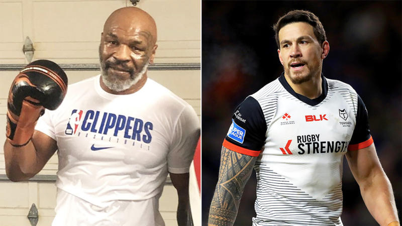 Sonny Bill Williams (pictured right) during a match and Mike Tyson (pictured left) after training.