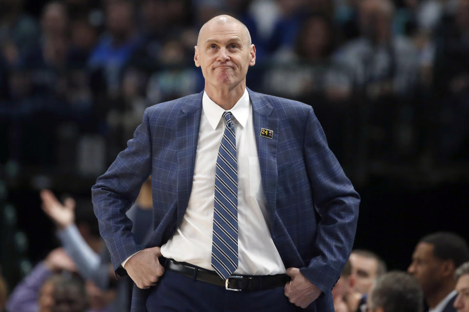 FILE - In this March 8, 2020, file photo, Dallas Mavericks head coach Rick Carlisle looks on from the sidelines the first half of an NBA basketball game against the Indiana Pacers in Dallas. The Pacers hired longtime Mavericks coach Rick Carlisle on Thursday, June 24, 2021, bringing back the 61-year-old NBA veteran to the team that relaunched his head coaching career almost two decades ago. Carlisle confirmed the decision to The Associated Press, though the team had no immediate announcement. (AP Photo/Ron Jenkins, File)