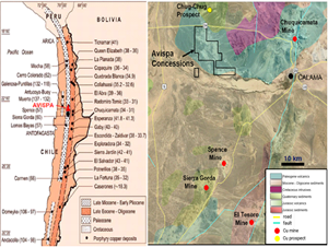 Location of the Avispa Exploration Property Area and major copper mines in northern Chile.