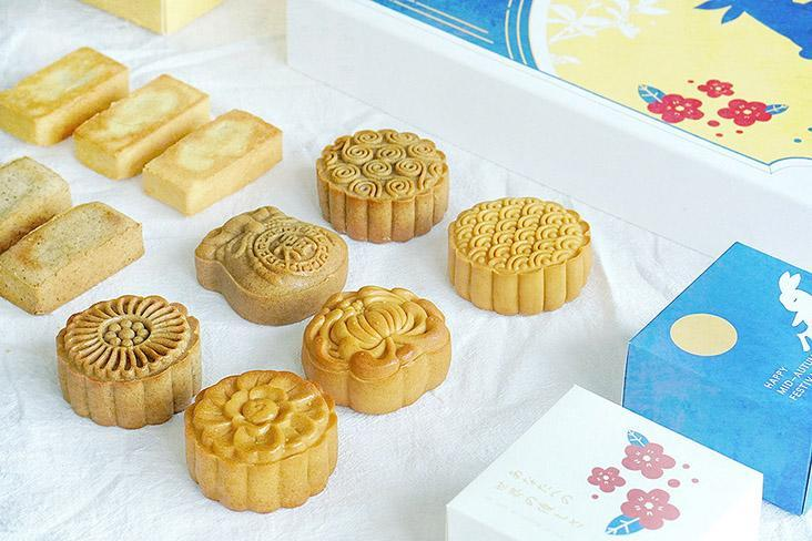 A variety of mini mooncakes.
