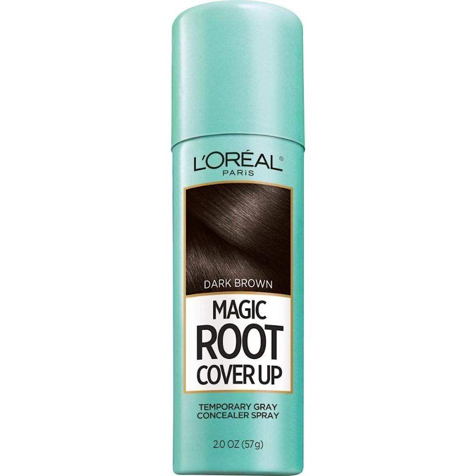 """<p><strong>L'Oreal Paris</strong></p><p>LorealParisUSA.com</p><p><strong>$10.99</strong></p><p><a href=""""https://www.lorealparisusa.com/products/hair-color/products/root-touch-up/magic-root-cover-up.aspx?shade=light-to-medium-blonde"""" rel=""""nofollow noopener"""" target=""""_blank"""" data-ylk=""""slk:Shop Now"""" class=""""link rapid-noclick-resp"""">Shop Now</a></p><p>Can't make it to a salon? Just blast your roots with this tinted spray to temporarily conceal grays until your next shampoo.</p>"""