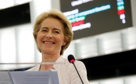 Elected European Commission President Ursula von der Leyen delivers a speech after a vote on her election at the European Parliament in Strasbourg
