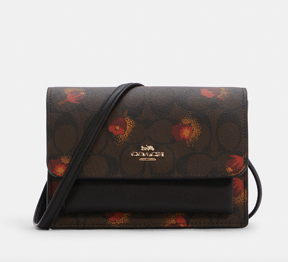 brown coach outlet Foldover Belt Bag in Signature Canvas with Pop Floral Print