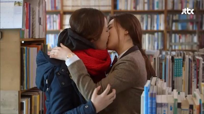 Two women kiss during a scene from the tv drama 'Seonam Girls High School Investigators', February 27, 2015 in this image from South Korean cable TV network and broadcasting company JTBC (AFP Photo/)