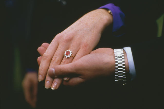 Sarah Ferguson, the Duchess of York received a ruby sparkler from Prince Andrew, Duke of York. (Photo: Getty Images)