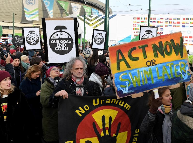 Protesters call for action on climate change on the sidelines of the conference in Poland which was intended to breathe life back into the Paris Agreement (AFP Photo/Janek SKARZYNSKI)