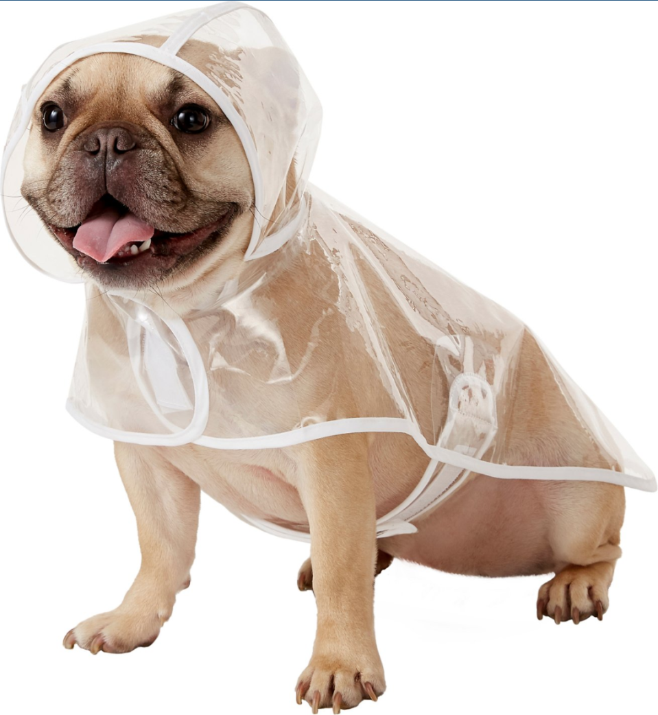"""<h3><strong>Vinyl Dog Raincoat</strong></h3><p>The only thing this stylish vinyl and 100% waterproof slicker if missing? The matching human-sized counterpart.</p><br><br><strong>Frisco</strong> Clear Vinyl Dog Raincoat, $9.99, available at <a href=""""https://www.chewy.com/frisco-clear-vinyl-dog-raincoat/dp/180522"""" rel=""""nofollow noopener"""" target=""""_blank"""" data-ylk=""""slk:Chewy"""" class=""""link rapid-noclick-resp"""">Chewy</a>"""