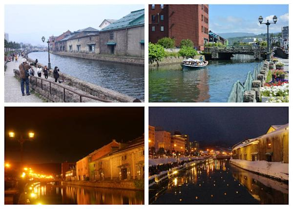 "Upper left: A popular location for walking and photography. Upper right: You can also enjoy a cruise along the canal. Bottom left: Warehouse groups are lit up with gas lights at night. Bottom right: The event venue of the ""Otaru Snow Light Path,"" an event held annually in February each year in which the surface of the canal and the walking paths are decorated with candle lights."