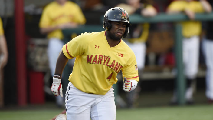 FILE - In this Wednesday, March 4, 2020 file photo, Maryland's Maxwell Costes during an NCAA baseball game in College Park, Md. It would have been interesting to see what Costes could have accomplished in a full season last year. He led the Terps in batting (.432), on base percentage (.620), slugging (.750), home runs (4) and walks (16). His on-base percentage was second nationally. (AP Photo/Gail Burton, File)